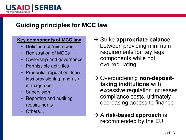 Guiding principles for MCC law