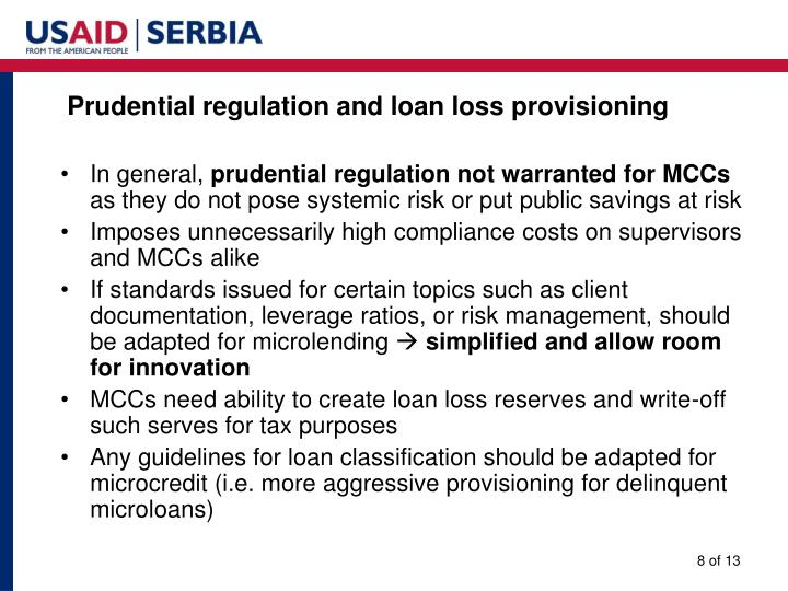Prudential regulation and loan loss provisioning