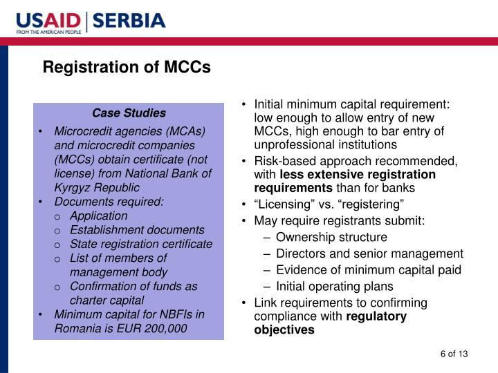 Registration of MCCs