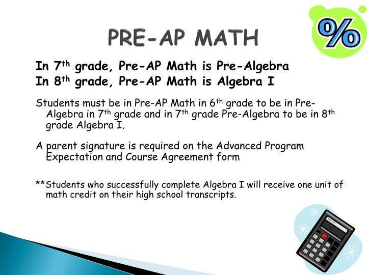 PRE-AP MATH