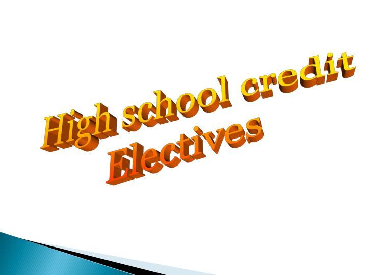High school credit