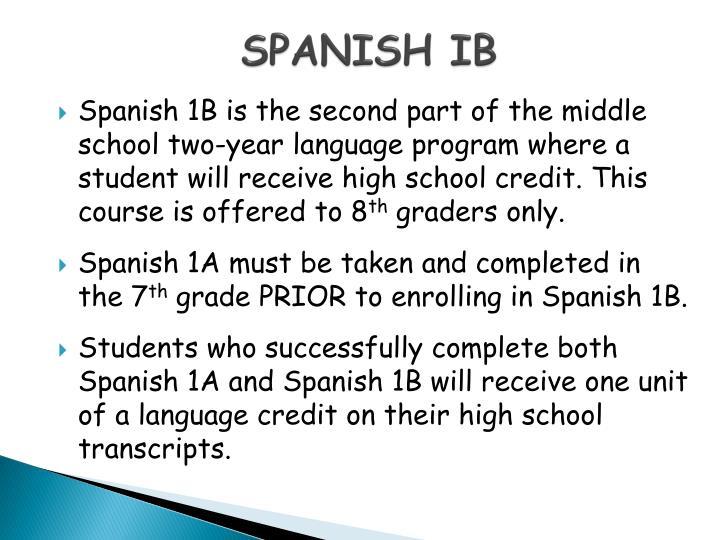 SPANISH IB