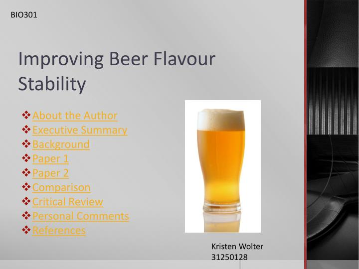 improving beer flavour stability n.