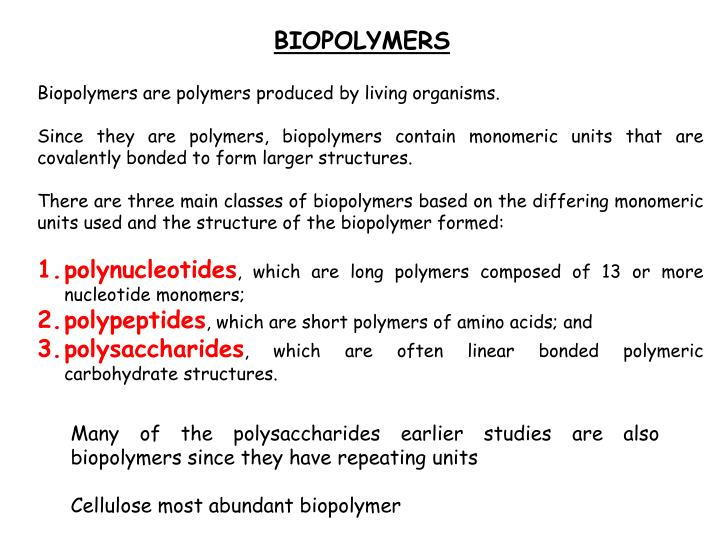 biopolymers pla Biopolymers and polylactic acid (pla) – or rather, ingeo 27 04 2011 synthetic  polymers have experienced almost exponential growth since.