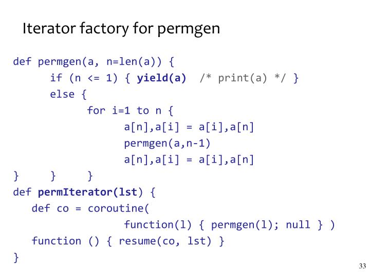 Iterator factory for