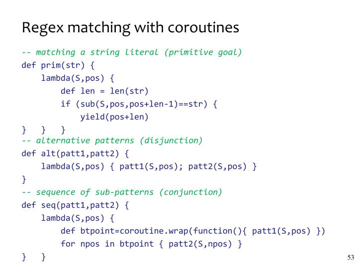 Regex matching with coroutines