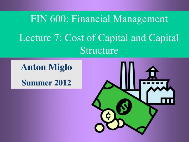 fin 571 cost of capital about pfizer s capital structure