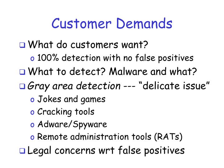 Customer Demands