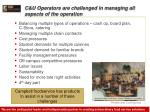 c u operators are challenged in managing all aspects of the operation