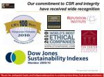 our commitment to csr and integrity have received wide recognition