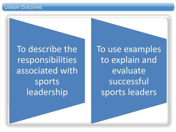 Lesson outcomes