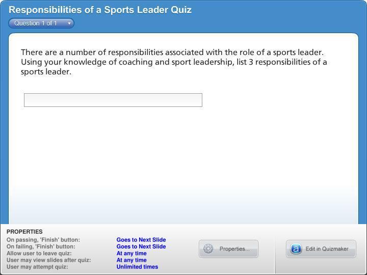 Responsibilities of a Sports Leader Quiz