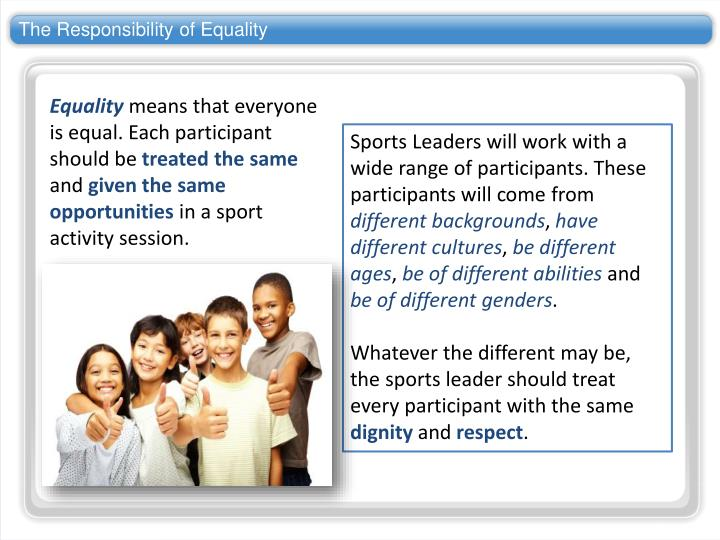 The Responsibility of Equality