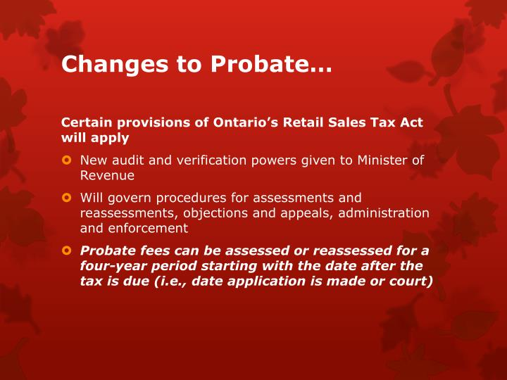 Changes to probate1