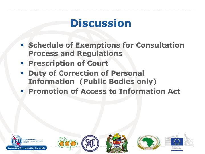 Schedule of Exemptions for Consultation Process and Regulations