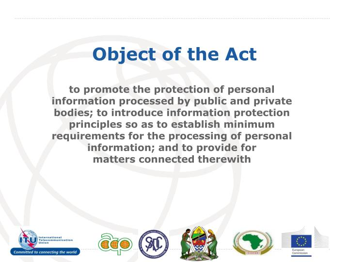 Object of the Act