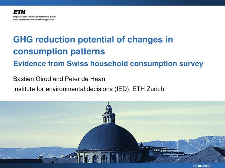 GHG reduction potential of changes in consumption patterns