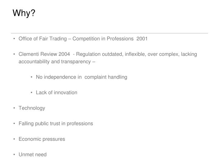Office of Fair Trading – Competition in Professions  2001