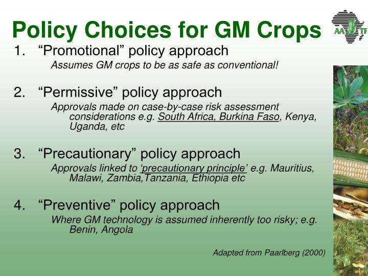 Policy Choices for GM Crops