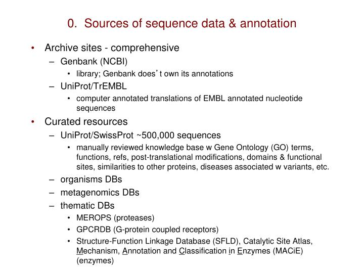 0.  Sources of sequence data & annotation
