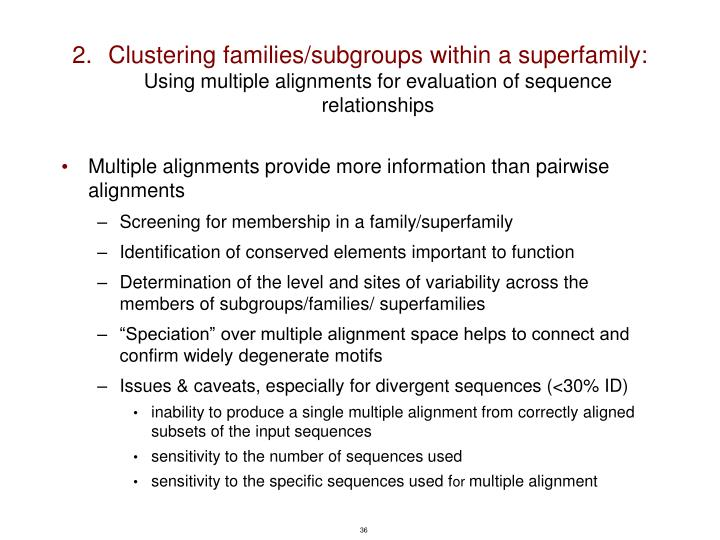 Clustering families/subgroups within a superfamily: