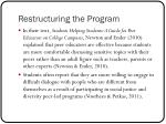 restructuring the program2