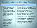 recommendations identified barriers4