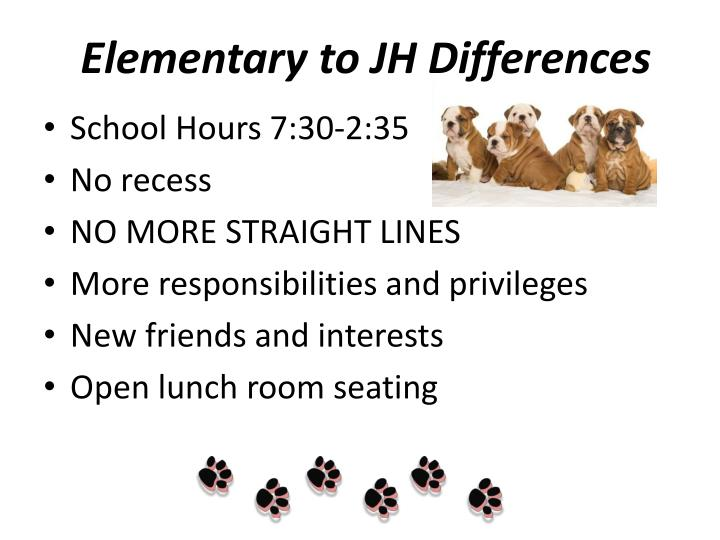 Elementary to JH Differences