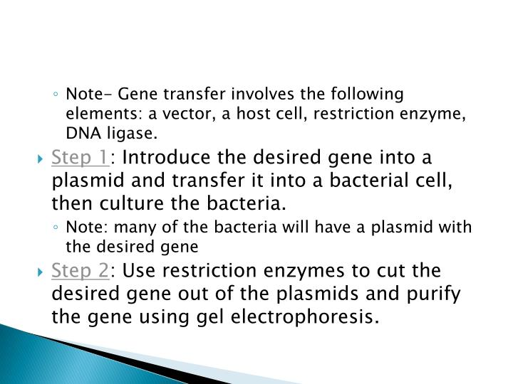 Note- Gene transfer involves the following elements: a vector, a host cell, restriction enzyme, DNA ligase.