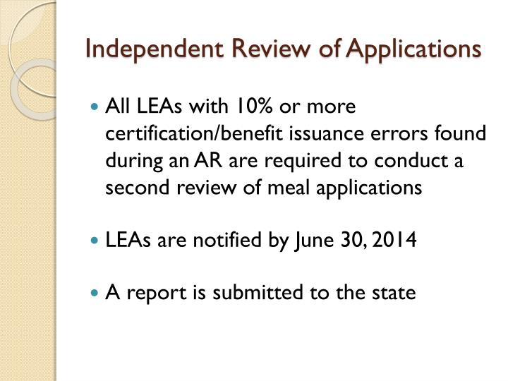 Independent Review of Applications