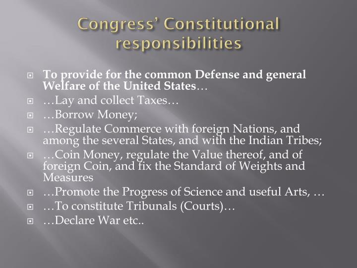 Congress constitutional responsibilities