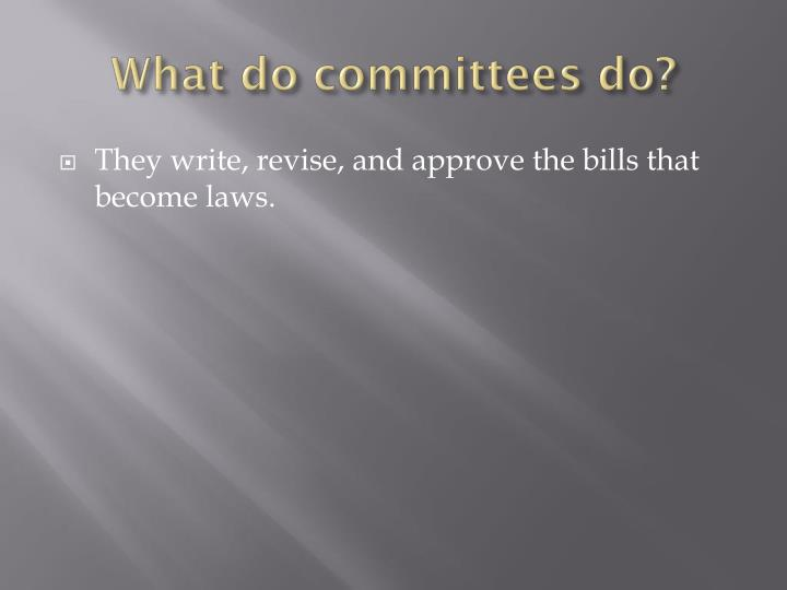 What do committees do?