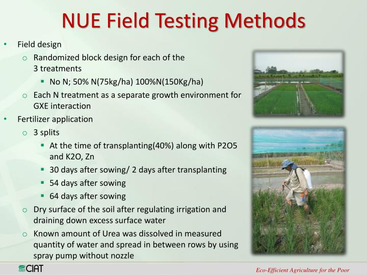NUE Field Testing Methods