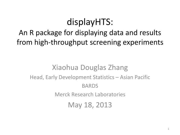 displayhts a n r package for displaying data and results from high throughput screening experiments n.