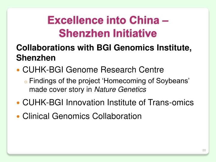 Collaborations with BGI Genomics Institute,