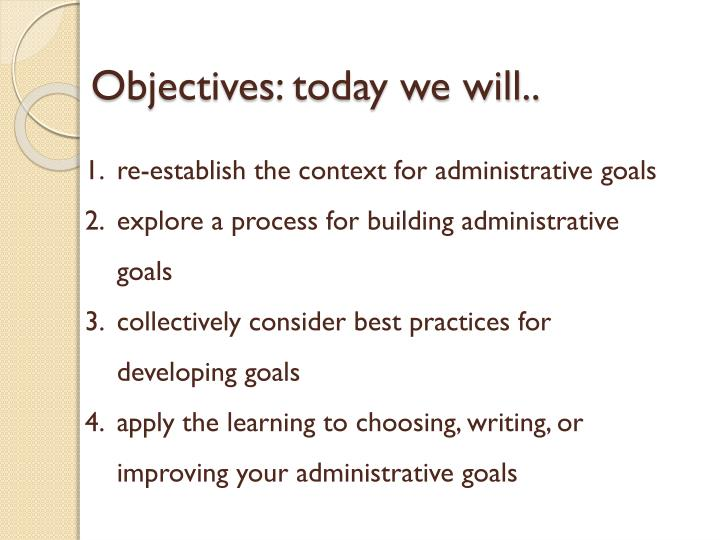 Objectives today we will