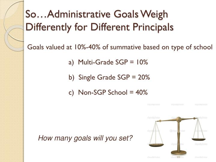 So…Administrative Goals Weigh Differently for Different Principals