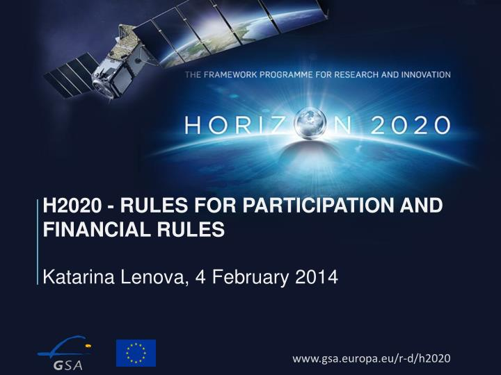 h2020 rules for participation and financial rules n.