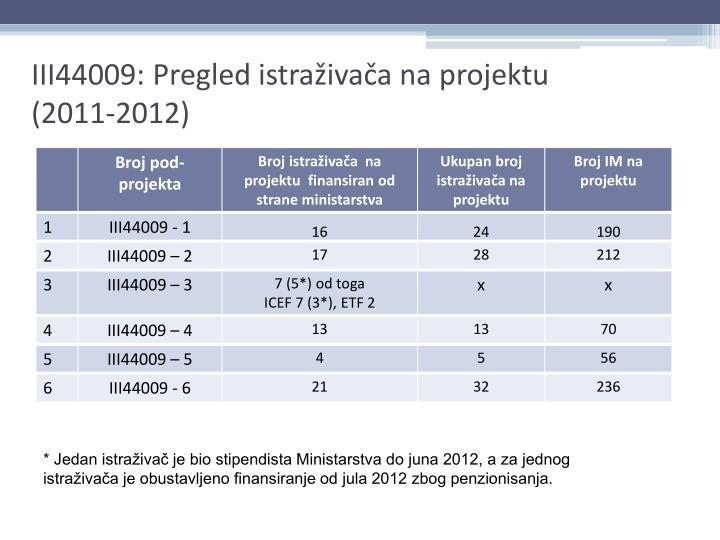 Iii44009 pregled istra iva a na projektu 2011 2012