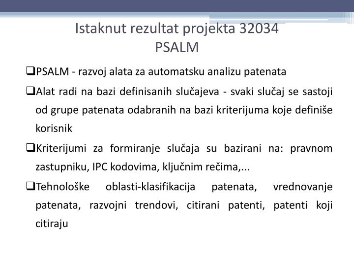 PSALM - razvoj alata za automatsku analizu patenata
