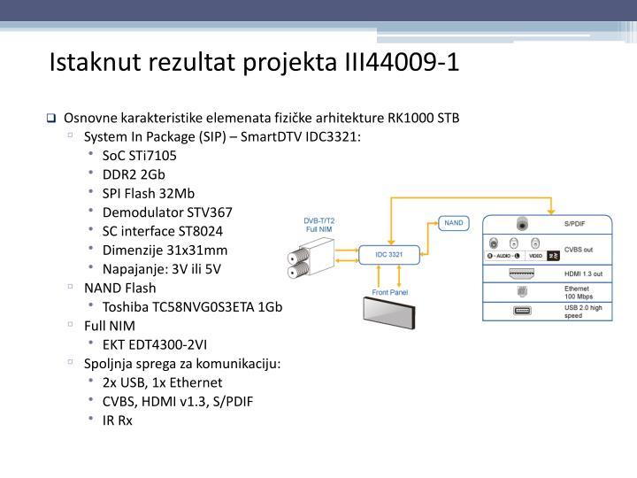 Osnovne karakteristike elemenata fizičke arhitekture RK1000 STB