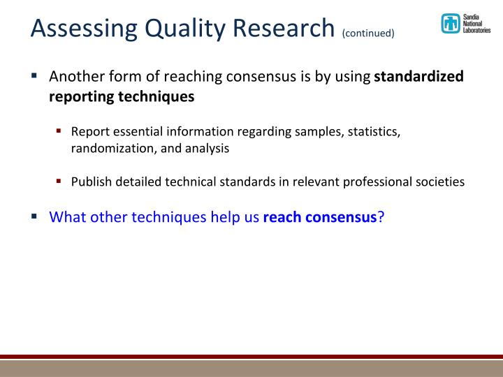 Assessing Quality Research
