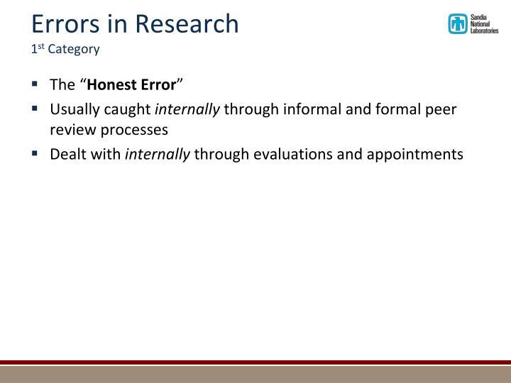 Errors in Research