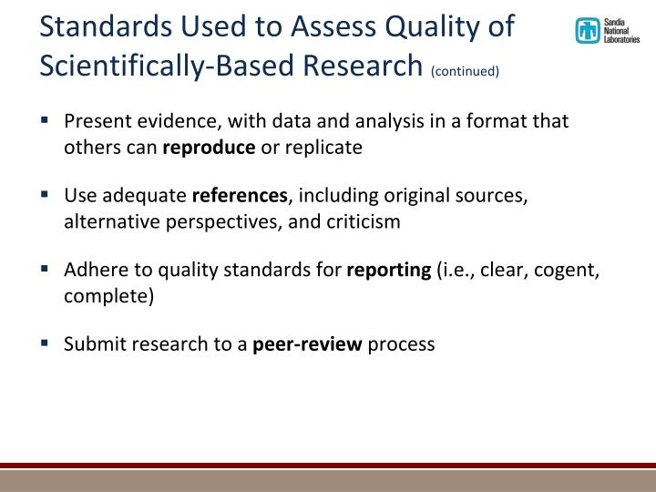 Standards Used to Assess Quality of