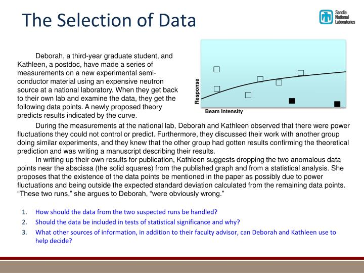 The Selection of Data