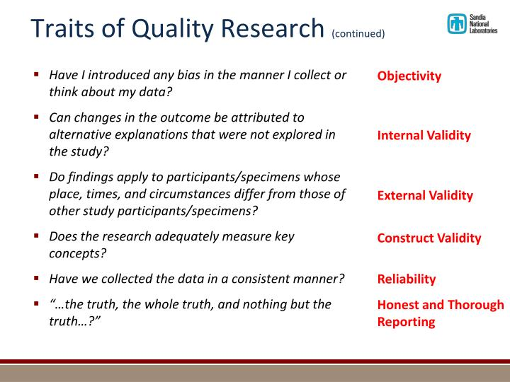 Traits of Quality Research