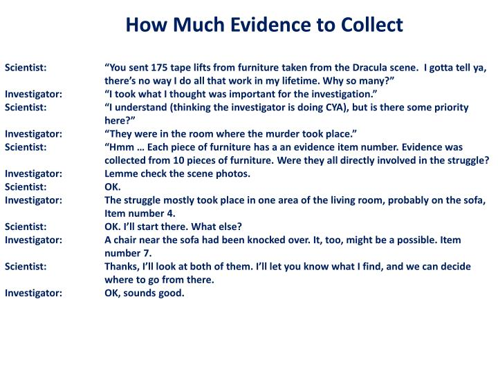 How Much Evidence to Collect