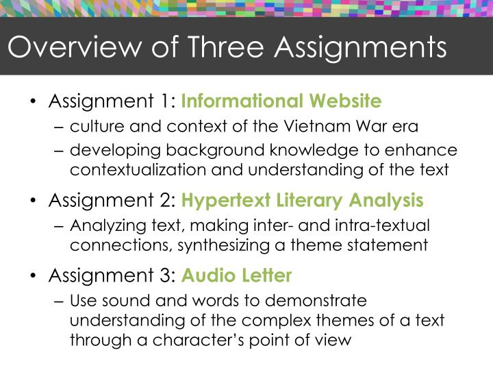 Overview of Three Assignments