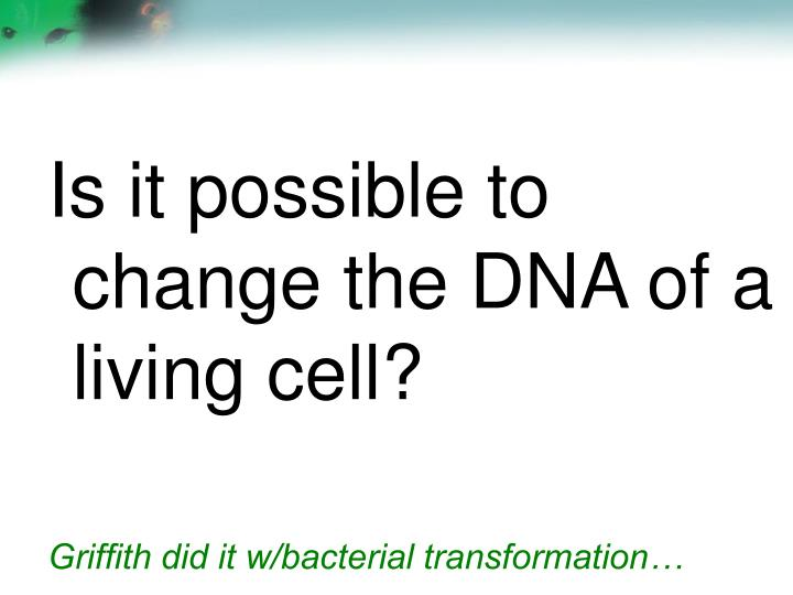 Is it possible to change the DNA of a living cell?