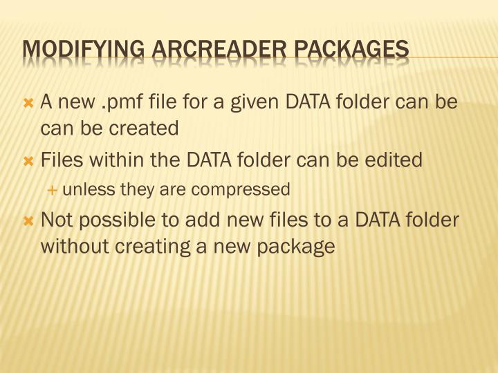 A new .pmf file for a given DATA folder can be can be created